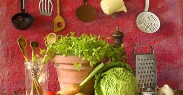 Verduras barra de cocina
