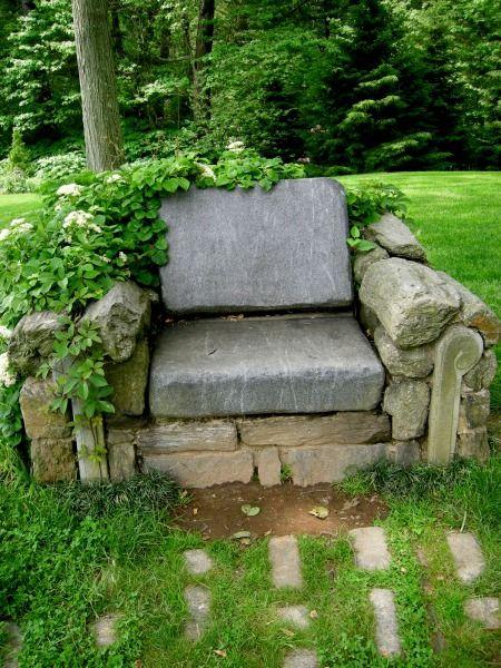 banca de piedra jardín decorativo