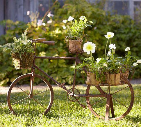 bicicleta maceta decorativos jardín