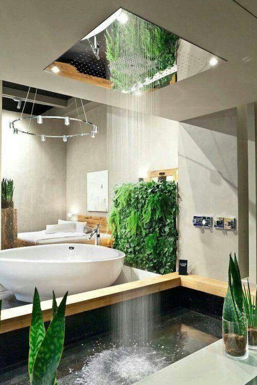 un baño diferente con duchas naturales desde el techo