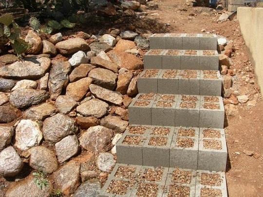 escalera con bloques