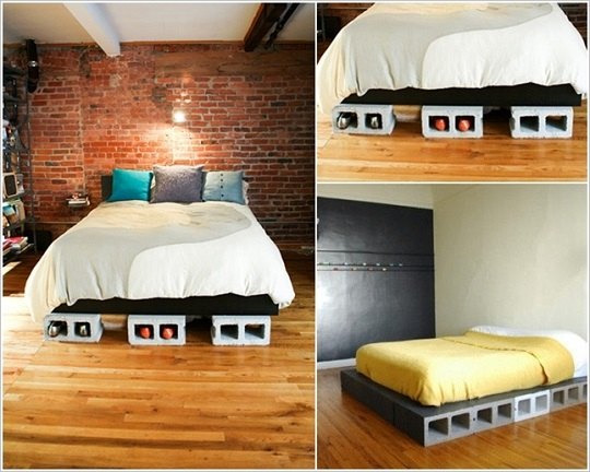 22 dise os funcionales de decoraci n con bloques de concreto for Base de cama hecha con tarimas