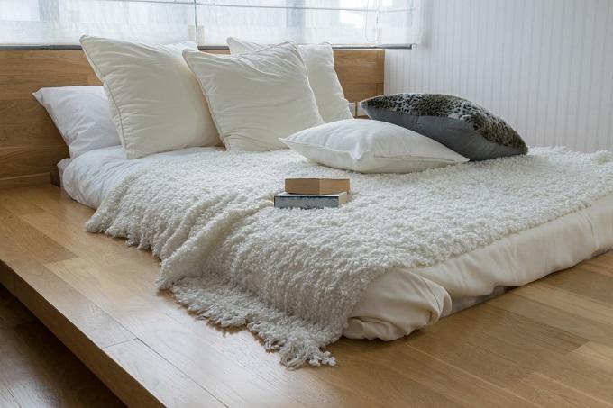 cama habitación estilo zen