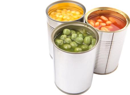 Verduras enlatadas latas