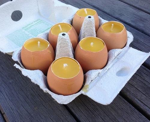 manualidades con cera de abejas y cáscara de huevos