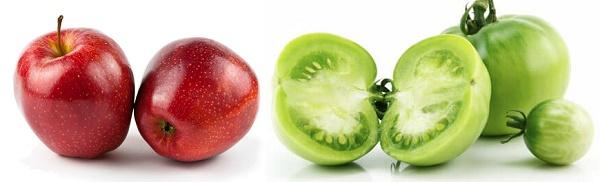 manzana y tomate verde para atrofia