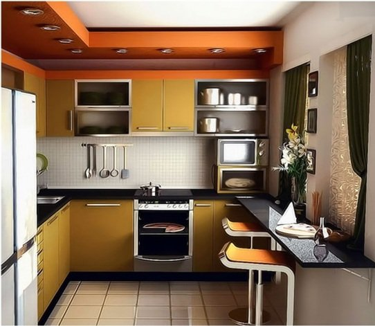 cocina moderna y pequea con detalles en tonos platas
