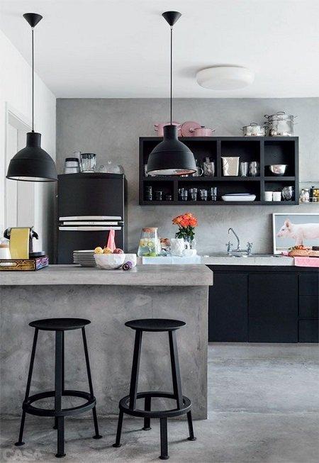 cocina modernista pequeña barra