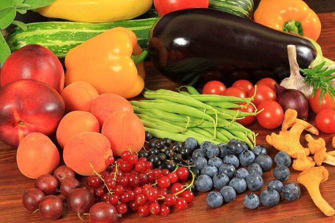 colores de los alimentos vegetales y frutas