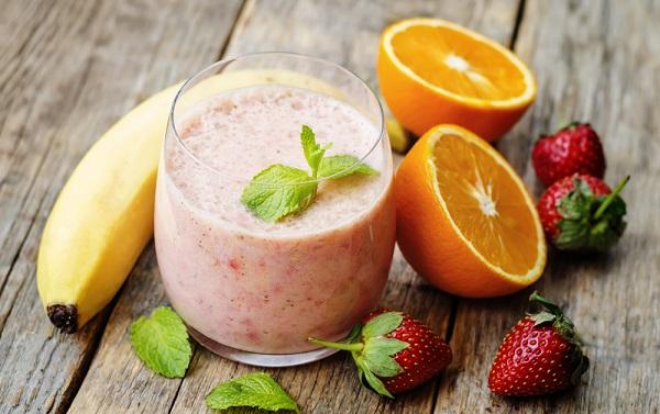 licuados energéticos fresa naranja y banana