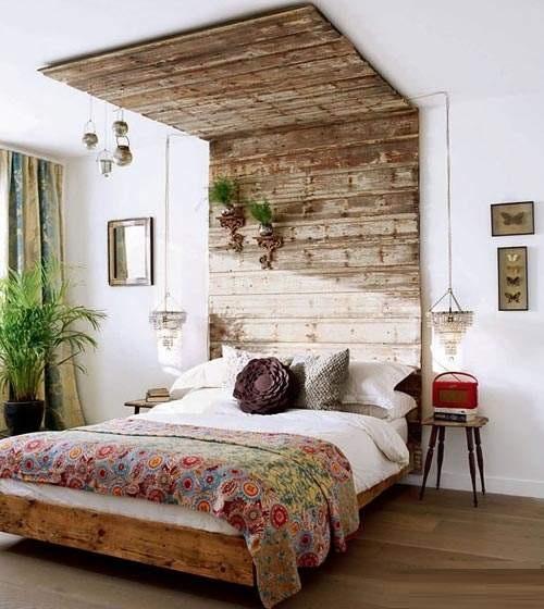 cama estilo rústico con pallet