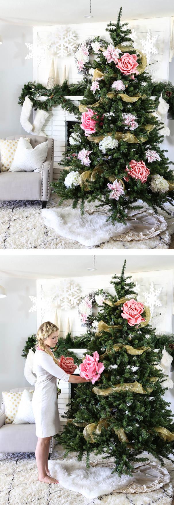 arbolito de navidad con decoración floral