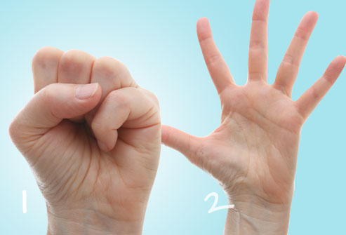 dolor de artritis en las manos puño y abanico