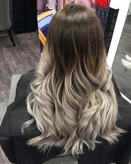 cabello largo rubio cenizo ombré