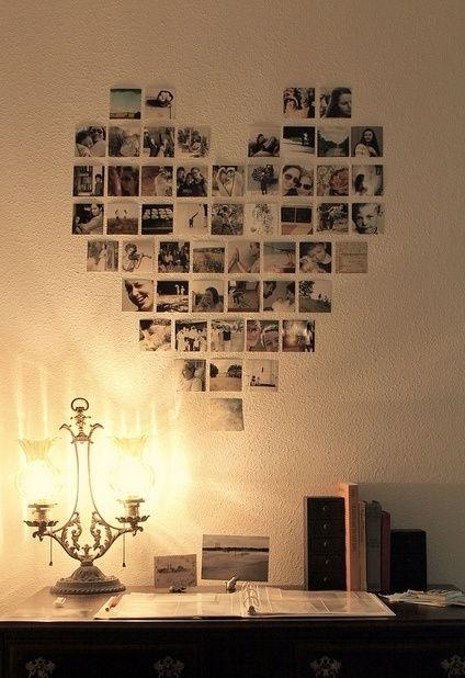cuadro con fotos familiares con forma de corazón