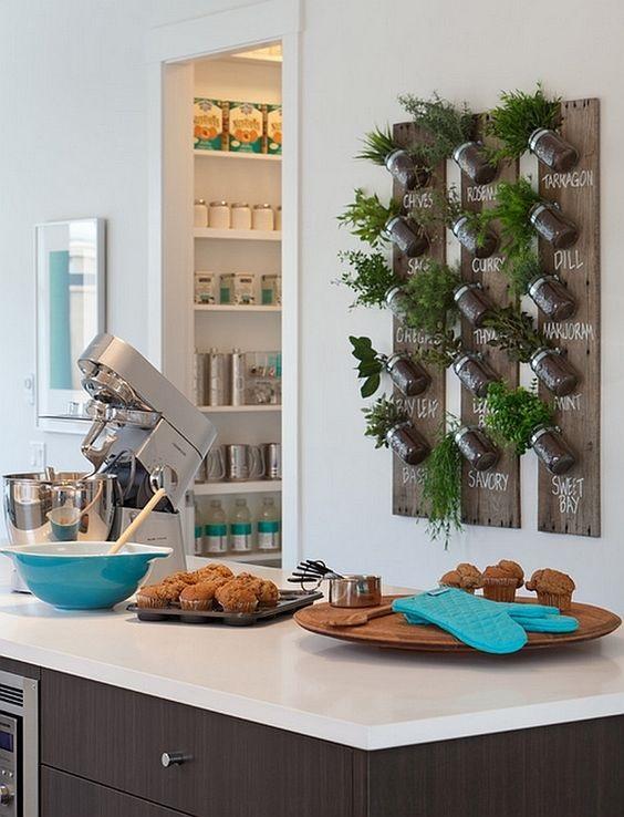 decorando las paredes con especias y vegetales colgados