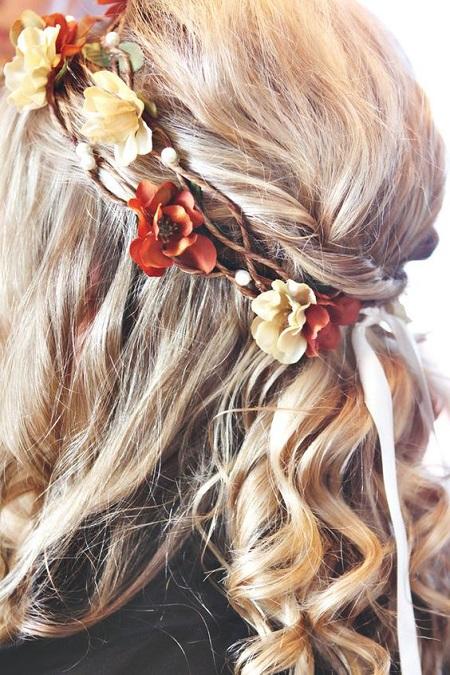 peinados para boda corona de flores