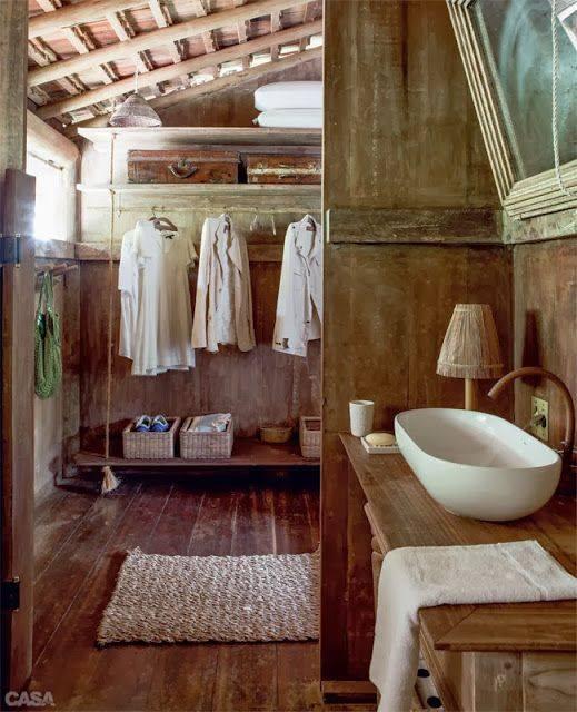 el baño en la cabaña rústica