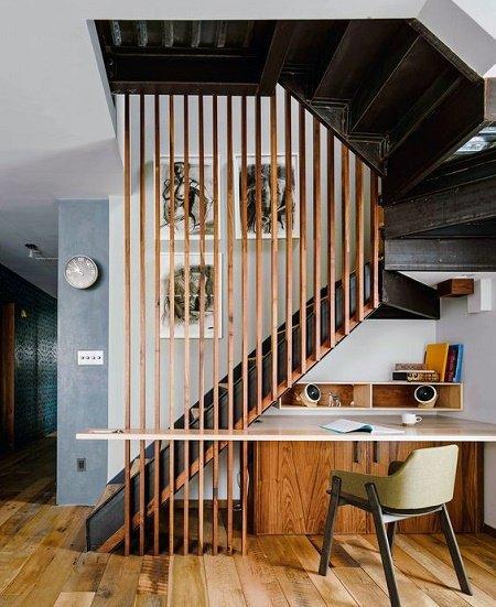 30 ideas de separadores de espacios para la casa for Como trazar una escalera de madera