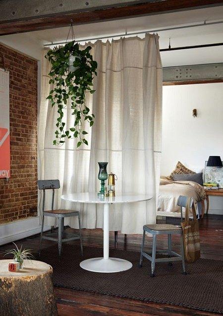 separadores de espacios con cortina