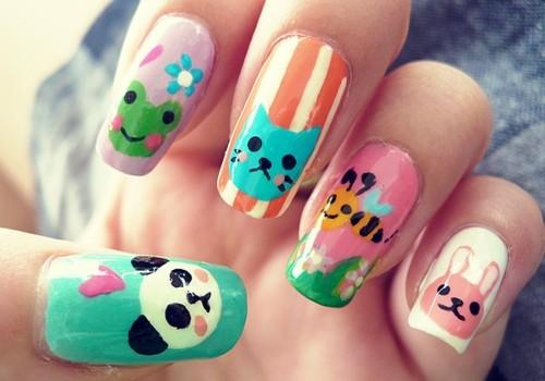 uñas decoradas con tiernos animales