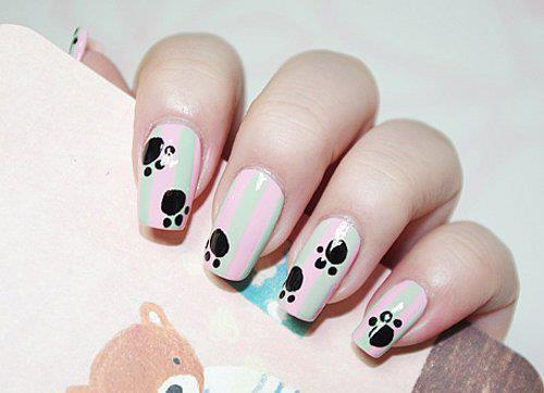 pintura de uñas con huella de animales