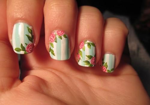uñas decoradas para vestidos floreados