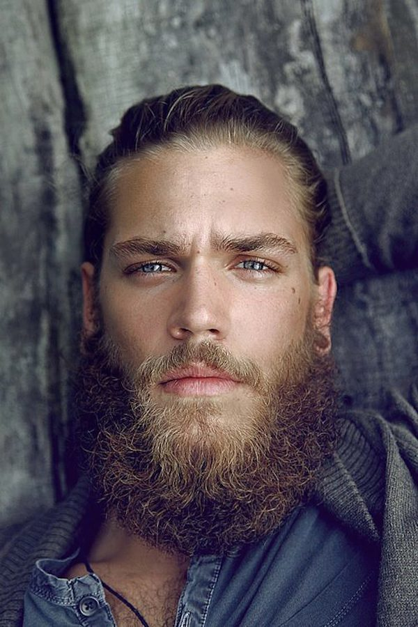 Barba más salvaje con pelo largo
