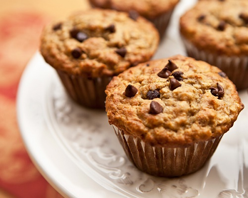muffins de banana con harina de avena