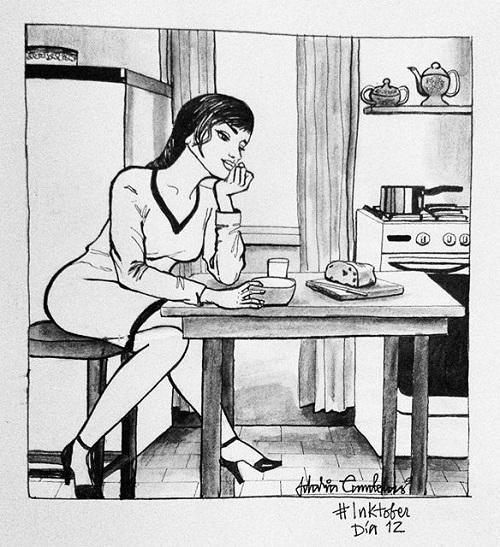 vivir sola en la cocina