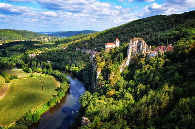 Paisaje de Rocamadour, Francia como en los cuentos medievales