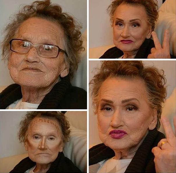 abuela maquillada