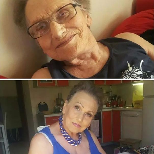 abuela maquillaje