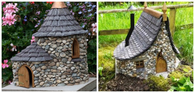 decorar el jardín con casas miniatura de piedra