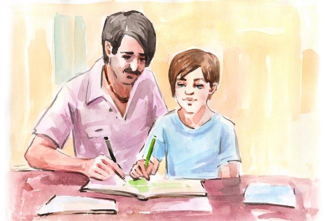 Padre junto a su hijo enseñándoles los valores