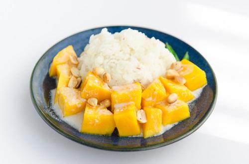 arroz con leche y mango