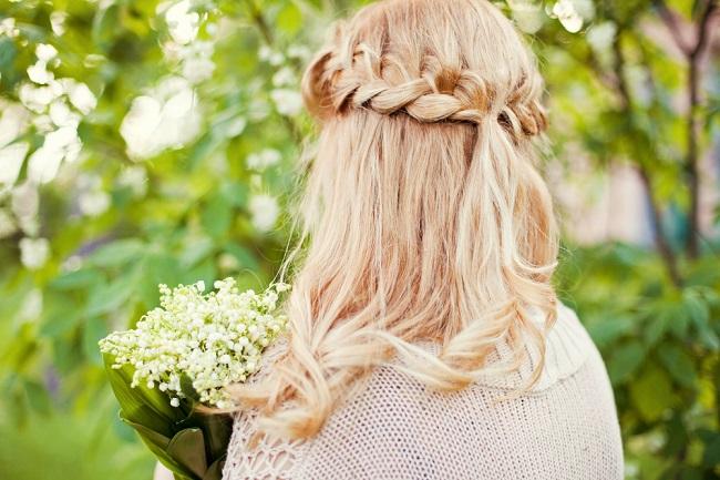 coronilla natural con el propio cabello trenzado
