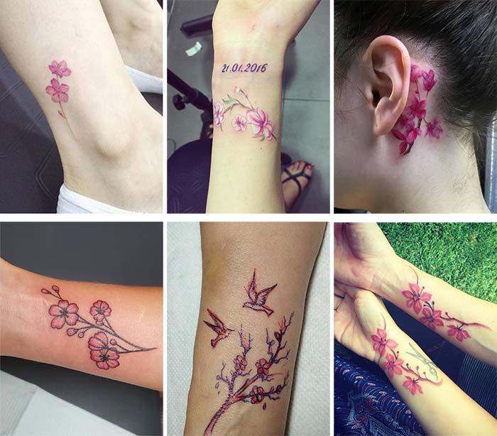 brazos, tobillos, cuello y antebrazos con tatuajes pequeños de flores de cereza