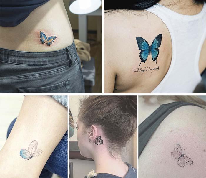 Tatuajes pequeños de mariposas volando