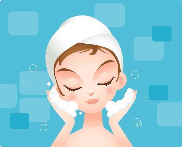 Ilustración de una mujer limpiando su rostro