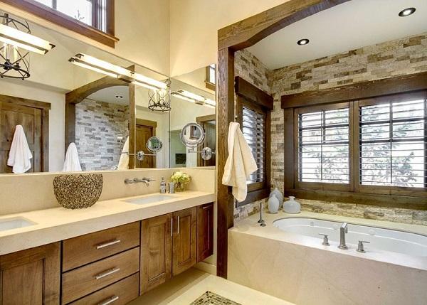 Un modernos diseño de baño pero con diseños de madera