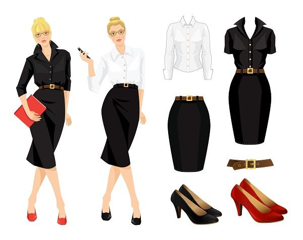 ilustraciones de outfits con falda recta y cinturón como ejemplos donde se muestra la cadera acentuada