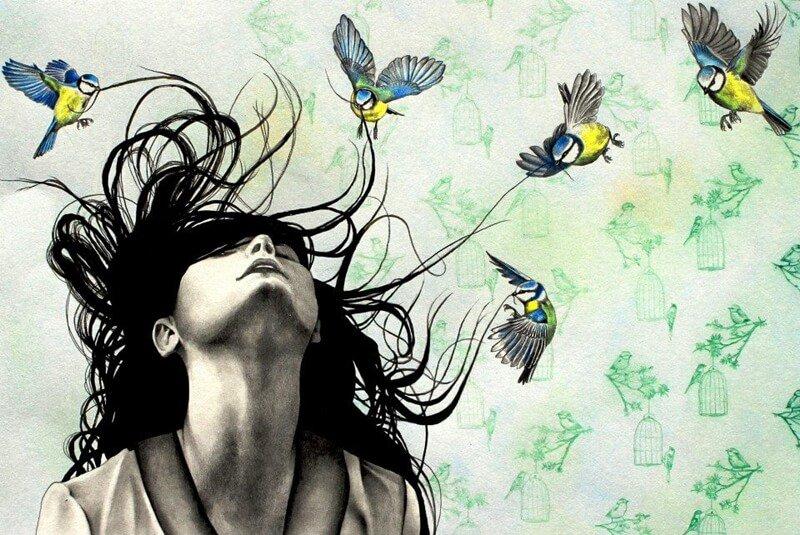 Mujer reduciendo el estrés para encontrar su paz interior
