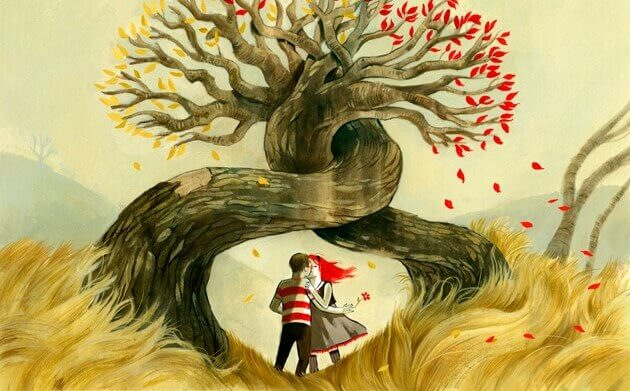 Ilustración de una pareja abrazada bajo un árbol