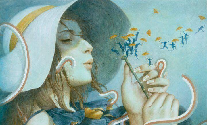 Ilustración de una mujer soplando una flor atrayendo felicidad