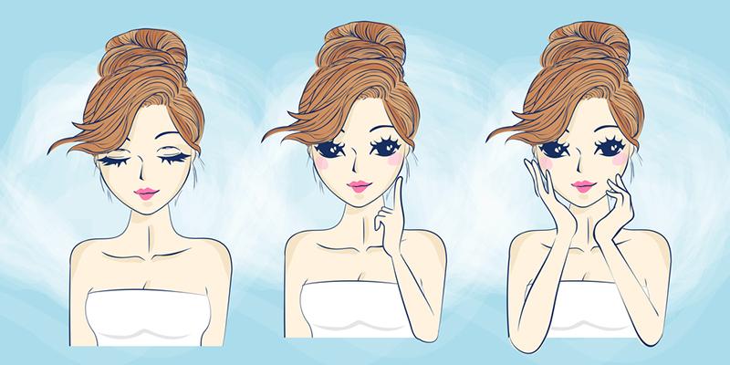 Ilustración de una chica con brillo en la cara