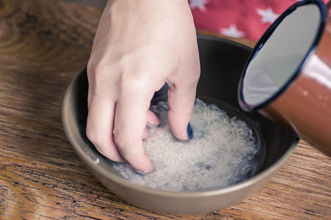 Preparando agua de arroz