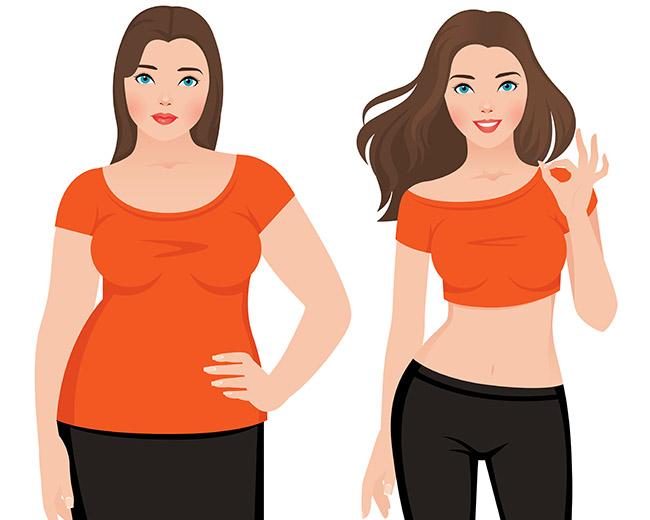 Mujer antes y después de aplicar tratamientos para bajar de peso incluyendo guarana
