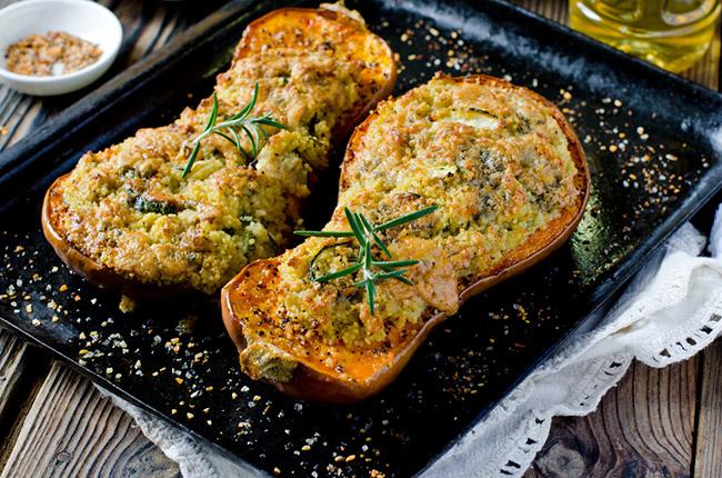 canos de calabación relleno con carne de soja ideal para veganos