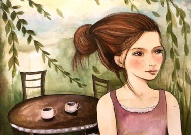 Una mujer esperando a alguien para tomar el té